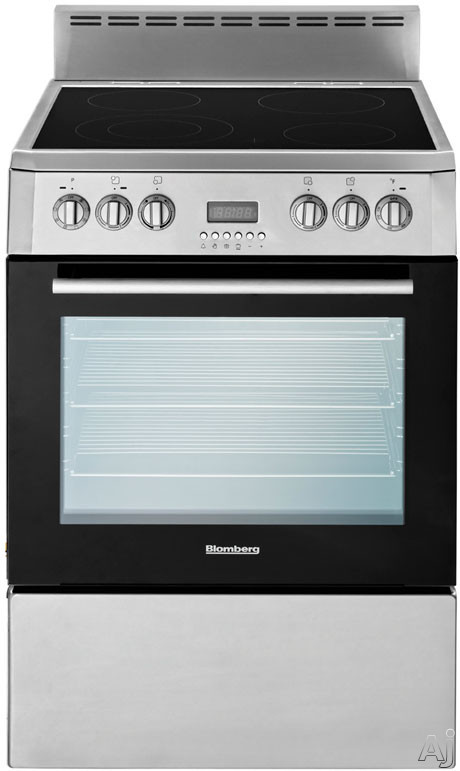 Blomberg BERU24100SS 24 Inch Freestanding Electric Range with 23 cu ft True Convection Oven 4 Element Ceramic Cooktop Programmable Oven Digital Display Chrome Plated Racks and Pull Out Storage Drawer