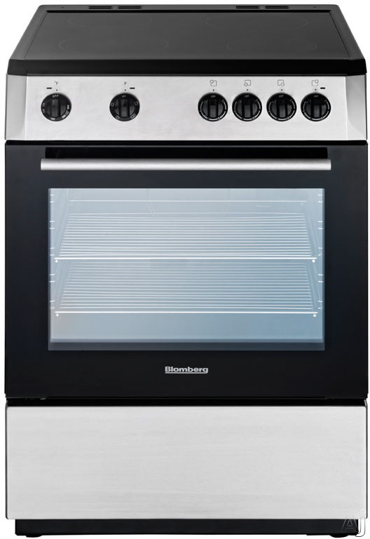 Blomberg BERU24200SS 24 Inch Freestanding Electric Range with 24 cu ft Oven Capacity 4 Element Ceramic Cooktop Chrome Plated Racks and Flip Down Storage Compartment