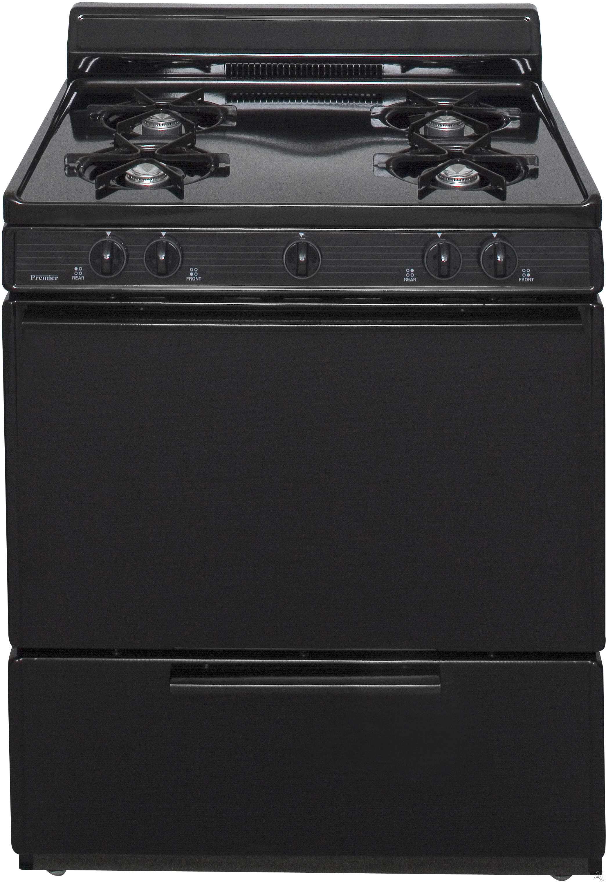 Premier BFK100 30 Inch Freestanding Gas Range with Four 9 100 BTU Burners 39 cu ft Oven Capacity Pull Out Broiler and 4 Inch Porcelain Backguard