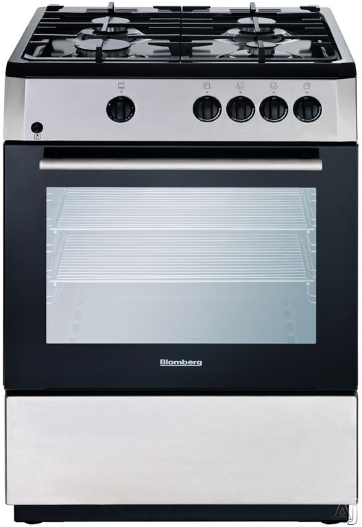 Blomberg BGR24100SS 24 Inch Freestanding Gas Range with 23 cu ft Oven Capacity 4 Sealed Burners Cast Iron Grates Electronic Ignition Interior Oven Light and Chrome Plated Racks