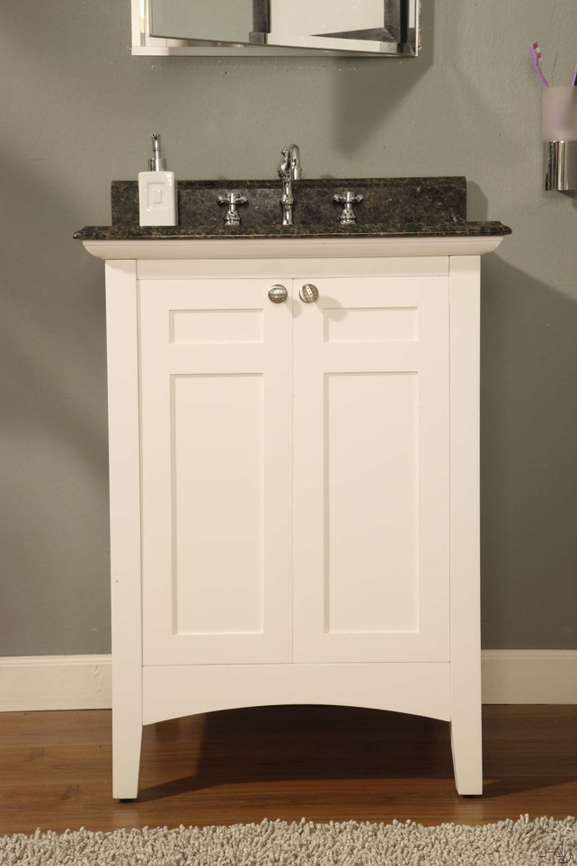 Empire Industries Biltmore Collection B24w 24 Inch Contemporary Shaker Style Vanity With 2 Cabinet Doors, White Finish And Optional Countertops