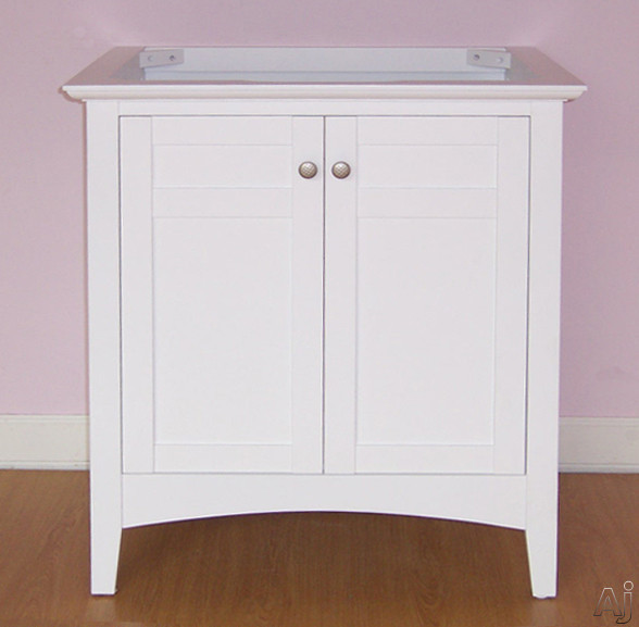 Empire Industries Biltmore Collection B30w 30 Inch Contemporary Shaker Style Vanity With 2 Cabinet Doors, White Finish And Optional Countertops