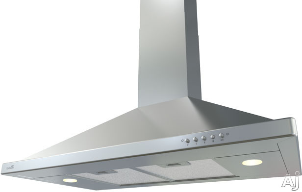 Image of Zephyr Brisas Series BVEEAS Wall-Mount Chimney Range Hood with 600 CFM Internal Blower, 3 Speed Levels, Halogen Lighting and Push Button Controls