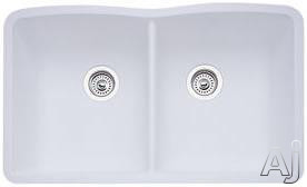 Blanco Diamond 440185x 32 Inch Undermount Double Bowl Granite Sink With 9-1/2 Inch Bowl Depths, 80% Solid Granite, Heat Resistant Up To 536-¦f And Scratch Resistant