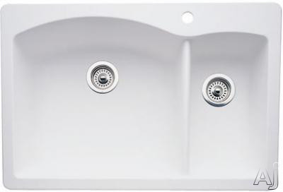 Blanco Diamond 440200 33 Inch Drop-in/undermount Double Bowl Granite Sink With 9-1/2 Inch Large Bowl Depth, 80% Solid Granite, Heat Resistant Up To 536-¦f And Scratch Resistant: White