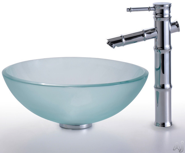 """Kraus Frosted Series CGV101FR12MM1300 16-1 / 2"""" Frosted Glass Vessel Sink Combination with 5-1 / 2"""", U.S. & Canada CGV101FR12MM1300"""