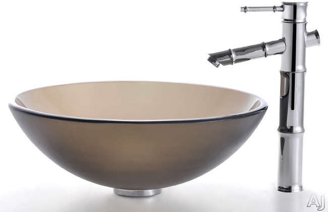 """Kraus Frosted Brown Series CGV103FR12MM1300 16-1 / 2"""" Frosted Brown Glass Vessel Sink with 5-1 / 2"""", U.S. & Canada CGV103FR12MM1300"""