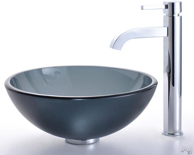 "Kraus Frosted Black Series CGV104FR1412MM1007SN 14"" Glass Vessel Sink with 5-1 / 2"" Bowl Depth, 1-3, U.S. & Canada CGV104FR1412MM1007SN"