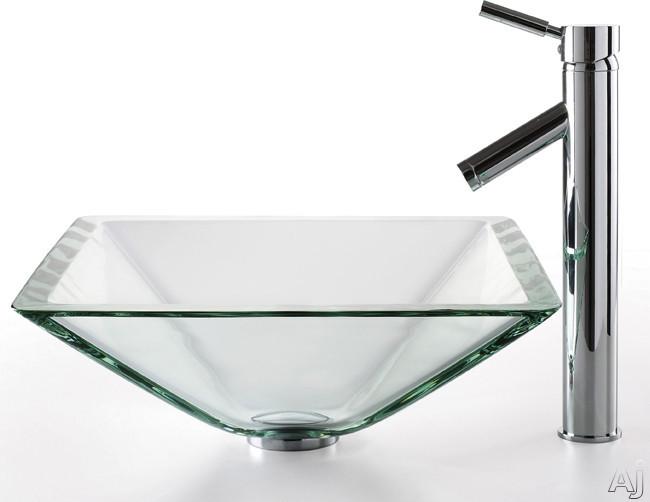 "Kraus Square Clear Series CGVS90119MM1002CH 18"" Aquamarine Glass Sink with 6"" Bowl Depth, 1-3 / 4"", U.S. & Canada CGVS90119MM1002CH"