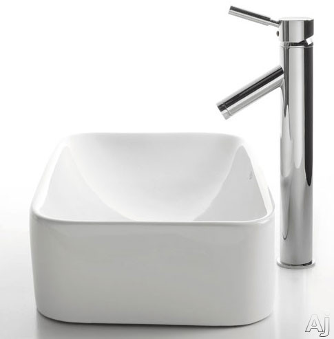 Rectangular Ceramic Sink with Sheven Faucet