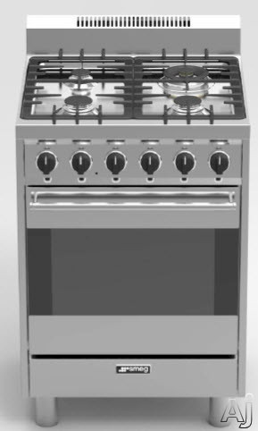 Smeg C24GGXU 24 Inch Gas Range with 2.8 cu. ft. Convection Oven, 4 Sealed Burners with up to 30,800 Total BTU, Wok Ring, Moka Ring, Baking Tray, 5 Rack Positions, Electronic Ignition and Ever-Clean En