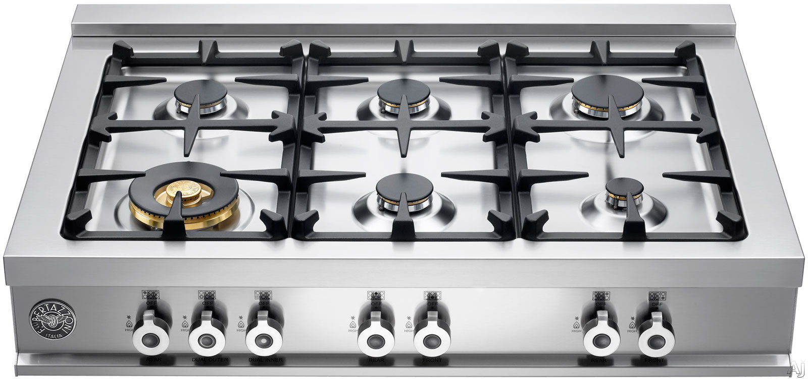 Bertazzoni Professional Series CB36600X 36 Inch Pro-Style Gas Rangetop with 6 Sealed Burners, 18,000 BTU Brass Power Burner, Continuous Grates, Electronic Ignition and Island Trim Included: Natural Gas
