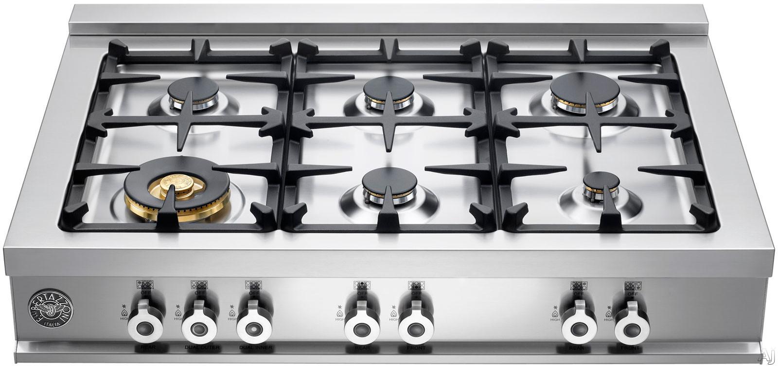 "Bertazzoni Professional Series CB36600X 36"" Pro-Style Gas Rangetop with 6 Sealed Burners, 18,000 BTU, U.S. & Canada CB36600X"