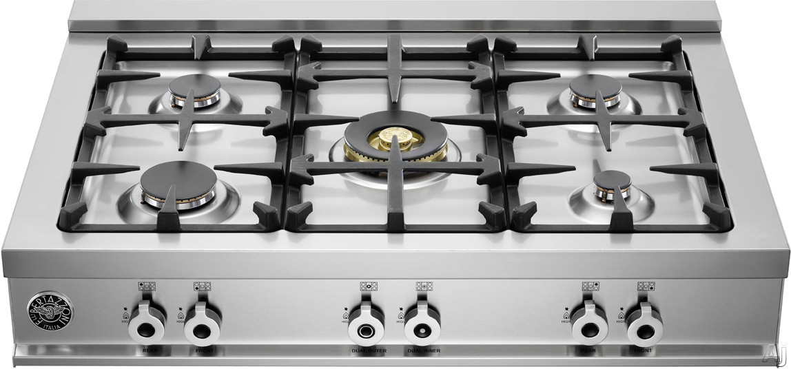 Bertazzoni Professional Series CB36500XLP 36 Inch Pro-Style Gas Rangetop with 5 Sealed Burners, 18,000 BTU Brass Power Burner, Continuous Grates, Electronic Ignition and Island Trim Included: Liquid Propane