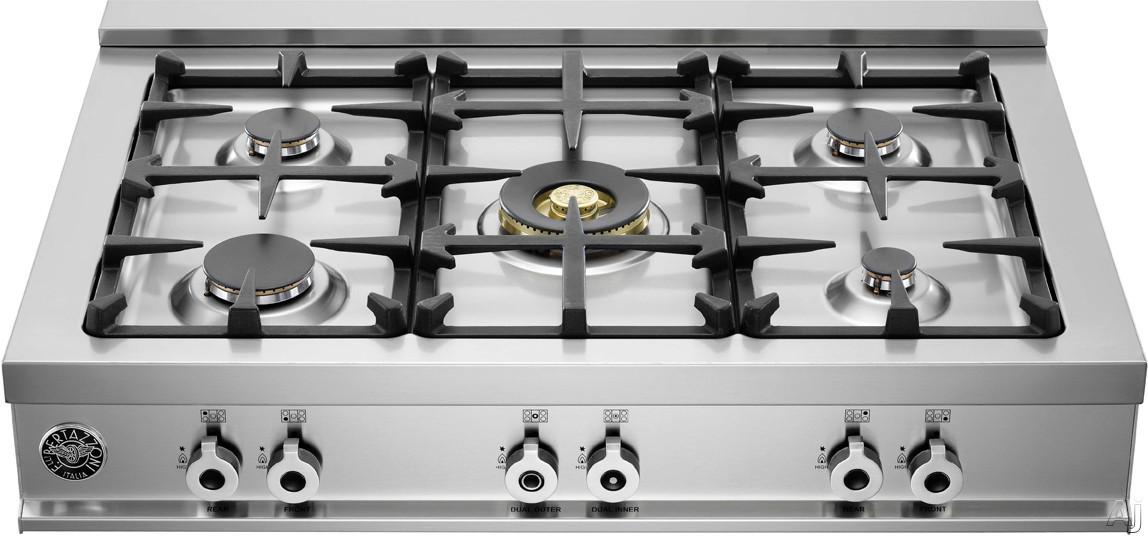 "Bertazzoni Professional Series CB36500X 36"" Pro-Style Gas Rangetop with 5 Sealed Burners, 18,000 BTU, U.S. & Canada CB36500X"