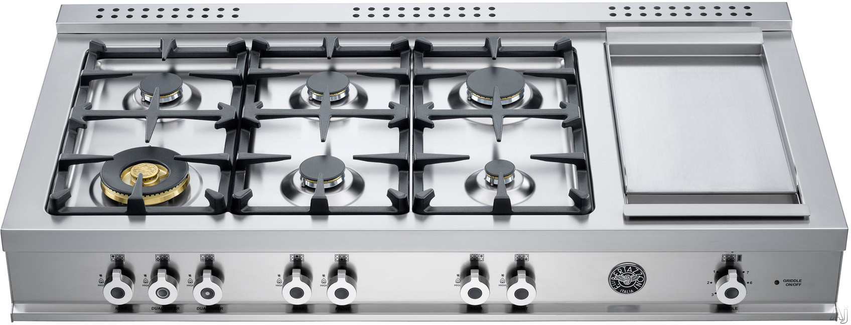 Bertazzoni Professional Series CB486G00XLP 48 Inch Pro-Style Gas Rangetop with 6 Sealed Burners, 18,000 BTU Brass Power Burner, Electric Griddle, Continuous Grates and Island Trim Included: Liquid Propane
