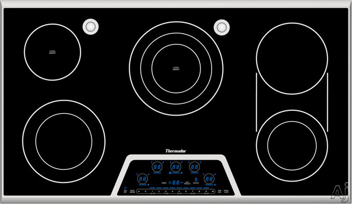 Thermador Masterpiece Deluxe Series CES366FS 36 Inch Smoothtop Electric Cooktop with 5 Radiant Elements, Electronic Touch Controls, Sensor Dome, CookSmart, Triple Element, Bridge Element and Stainless Steel Frame