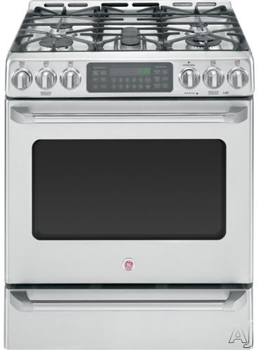 "GE Cafe Series CGS985SETSS 30"" Freestanding Gas Range with 5 Sealed Burners, 20,000 BTU Tri-Ring Burner, 5.4 cu. ft. Convection Oven, Self-Clean, Baking Drawer and Griddle Accessory"