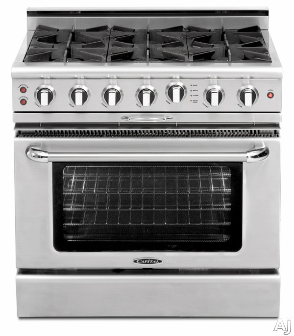 "Culinarian Series CGSR366 36"""" Freestanding Natural Gas Range with 6 Open Burners  Moto-Rotis Rotisserie  and Flex-Roll Oven Racks  in Stainless"" 175981"