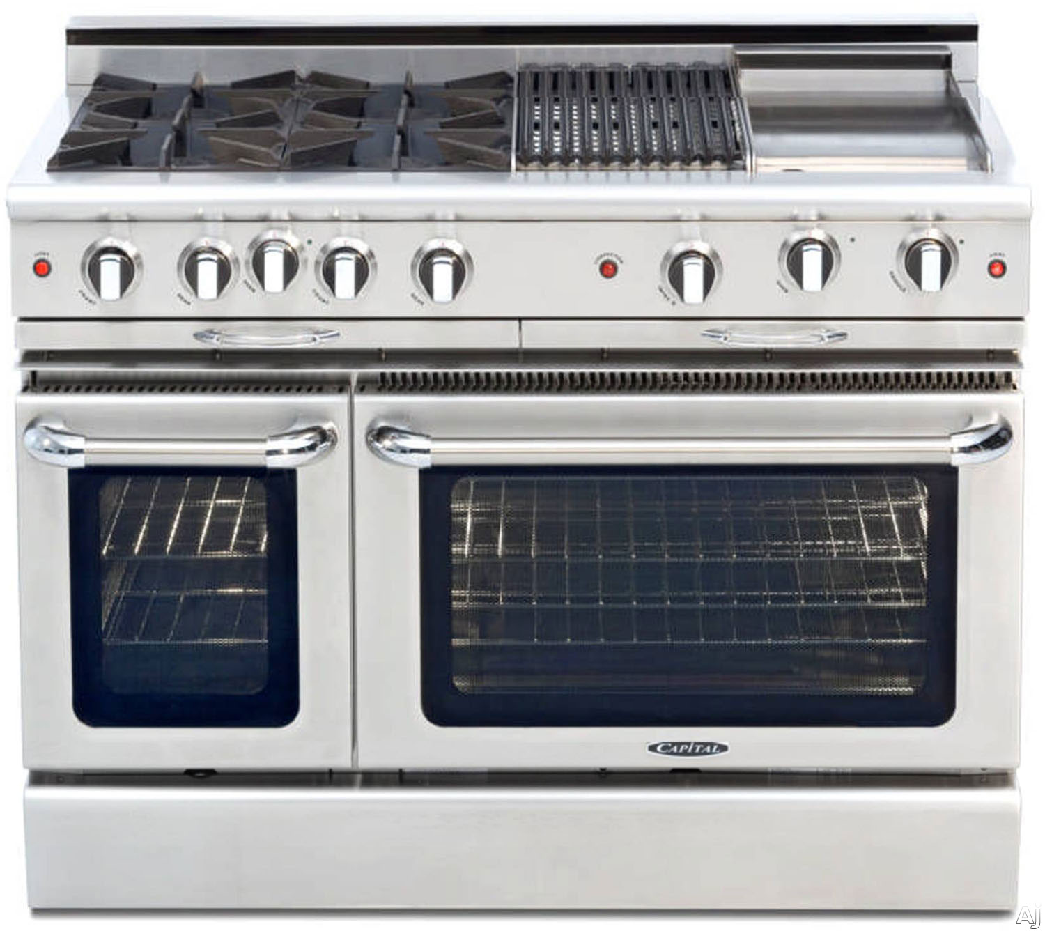 "Capital Culinarian Series CGSR482BG2 48 Inch Pro-Style Gas Range with 4 Open Burners, 12"""" Thermo-Griddle, 12"""" BBQ Grill, Self-Clean, Moto-Rotisâ""¢ Rotisserie, EZ-Glidesâ""¢ Drip Tray, Stay-Coolâ""¢ Knobs, 4.6 cu. ft. Primary Oven and 2.1 cu. ft. Secondar"