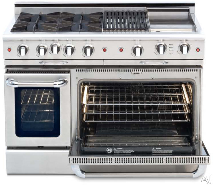 Capital Culinarian Series CGSR488 48 Inch Pro-Style Gas Range with 8 Open Burners, 4.6 cu. ft. Convection Oven, 2.1 cu. ft. Secondary Oven, Self Clean, Infrared Glass Broiler and Rotisserie (Not Exact Image) CGSR488