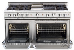 Capital Culinarian Series CGSR604B4 60 Inch Pro-Style Gas Range with 8 Open Burners, 4.6 cu. ft. Convection Oven, 3.1 cu. ft. Secondary Oven, Self Clean, 12 Inch Grill and Rotisserie (Not Exact Image) CGSR604B4