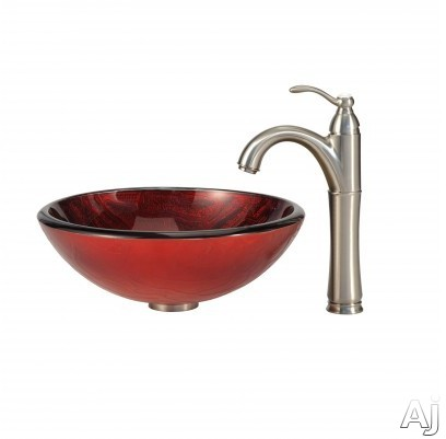 "Kraus Charon Series CGV69219MM1005SN 16-1 / 2"" Charon Glass Vessel Sink Combination with 6"" Bowl, U.S. & Canada CGV69219MM1005SN"