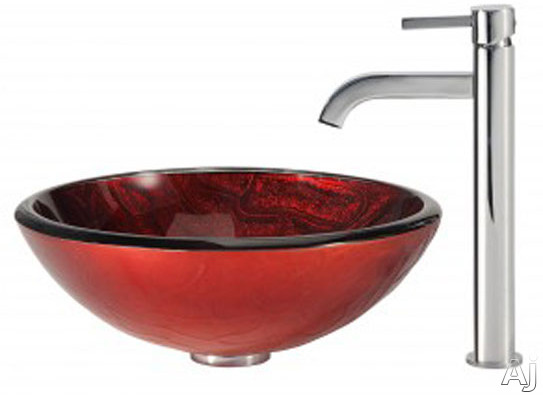 "Kraus Charon Series CGV69219MM1007CH 16-1 / 2"" Charon Glass Vessel Sink Combination with 6"" Bowl, U.S. & Canada CGV69219MM1007CH"