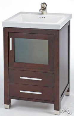 Empire Industries Chelsea Collection CH21DC 21 Inch Contemporary Vanity with Cabinet Door, Drawers, Satin Nickel Handles, Satin Shoes and Optional Ceramic Countertops Sold Separately: Dark Cherry