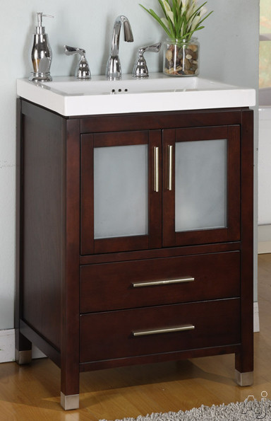 Empire Industries Chelsea Collection CH24DC 24' Contemporary Vanity with Cabinet Doors, Drawers, Satin Nickel Handles, Satin Shoes and Optional Ceramic Countertop: Dark Cherry