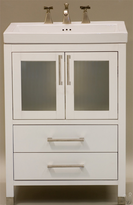 Empire Industries Chelsea Collection CH24W 24 Inch Contemporary Vanity with Cabinet Doors, Drawers, Satin Nickel Handles, Satin Shoes and Optional Ceramic Countertop: White