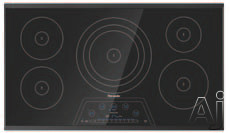 Thermador Masterpiece Series CIT365KBB 36 Inch Induction Cooktop with 5 Elements, 4,600W Triple Element, PowerBoost, 17 Power Settings, Auto Shut-Off Timer and Anti-Overflow System: Black with Framele