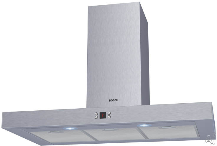Bosch Lights - Bosch DKE945MUC Wall Mount Chimney Hood With 600 CFM Blower 4 Fan-Speed Settings 53 Decibel Rating 2 Halogen Surface Lights And Slim Silhouette Style