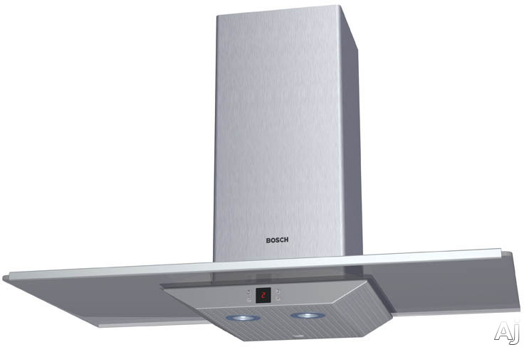 Bosch Lights - Bosch DKE965PUC Wall Mount Hood With 600 CFM Blower 4 Fan-Speed Settings 54 Decibel Rating 2 Halogen Surface Lights And Smoked Glass Canopy