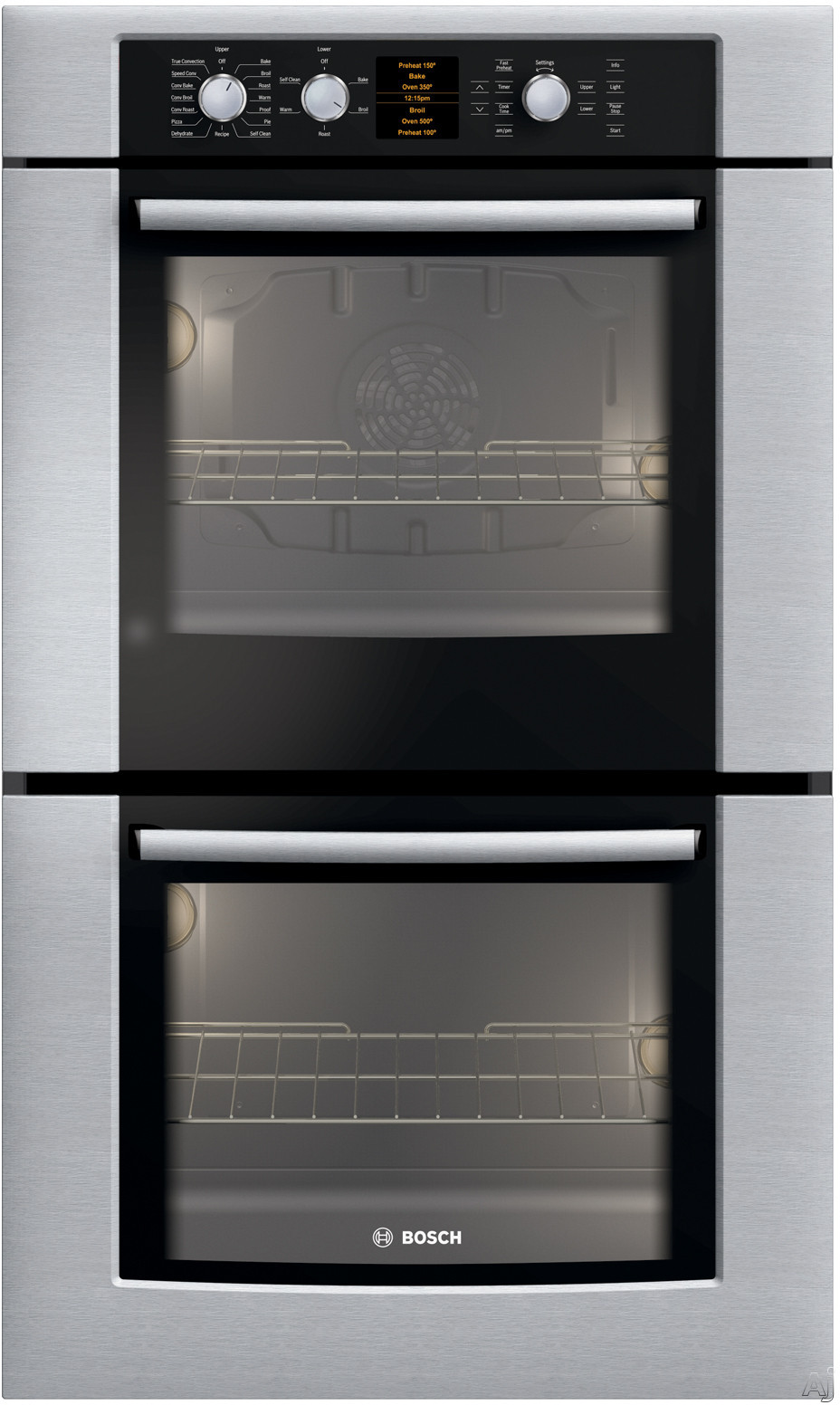 "Bosch 500 Series HBL5620UC 30"" Double Electric Wall Oven With Genuine European Convection In Upper Oven 16 Cooking Modes In Upper Oven Ergonomic Retractable D"