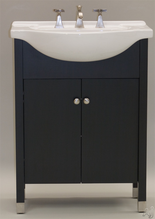 Empire Industries Contempo Capri Collection CO26P 24 Inch Contemporary Vanity with Cabinet Doors, Satin Nickel Knobs, Stainless Steel Shoes and Optional 26 Inch Ceramic Countertops: Pecan