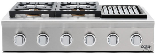 """click for Full Info on this DCS Professional Series CPU364GLL 36"""" Pro Style Gas Rangetop with 4 Sealed Dual Flow Burners  Continuous Grates  Stainless Steel Design  Grease Managment System and Professional Quality Grill: Liquid Propane"""