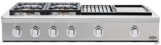 """click for Full Info on this DCS Professional Series CPU484GGL 48"""" Pro Style Gas Rangetop with 4 Sealed Dual Flow Burners  Continuous Grates  Grease Management System  Stainless Steel Design  Professional Quality Grill and Griddle: Liquid Propane"""
