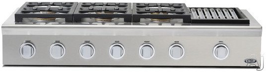 """click for Full Info on this DCS Professional Series CPU486GLL 48"""" Pro Style Gas Rangetop with 6 Sealed Dual Flow Burners  Continuous Grates  Stainless Steel Design  Grease Management System and Professional Quality Grill: Liquid Propane"""