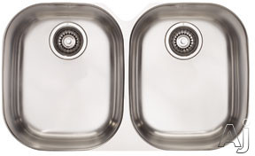 Franke Compact Series CPX120 29 Inch Undermount Double Bowl Stainless Steel Sink with 18-Gauge and Polished Finish