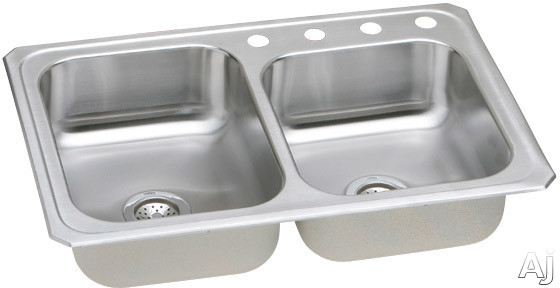Elkay Celebrity Collection CR2500 33 Inch Top Mount Double Bowl Stainless Steel Sink with 20-Gauge, 7 Inch Bowl Depth, 3-1/2 Inch Drain and Small Bowl on Right: No Holes