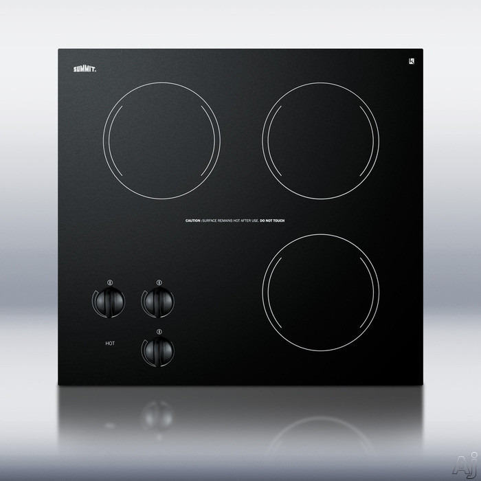 Summit CR3240 21 Inch Smoothtop Electric Cooktop with Three 1,200 Watt Radiant Elements, Black Ceramic Glass Surface, Push-to-Turn Knobs and Residual Heat Light