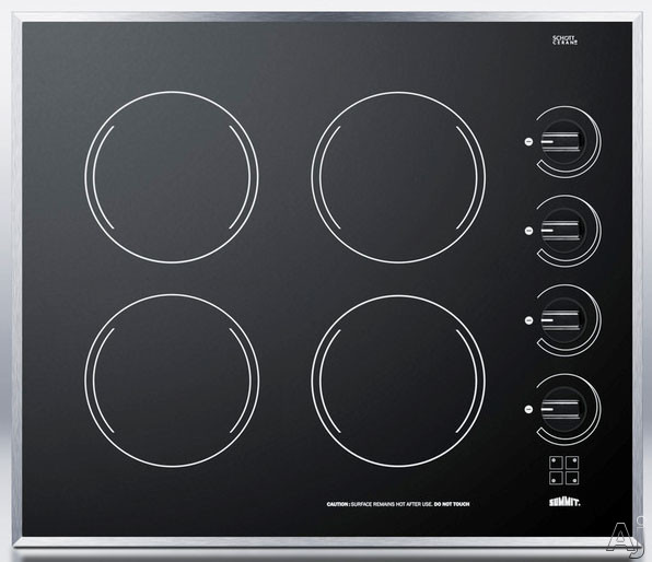 Summit CR424 24 Inch Smoothtop Electric Cooktop with 4 Radiant E.G.O. Elements, Schott Ceran Surface, Stainless Steel Trim, Indicator Lights and Push-to-Turn Knobs