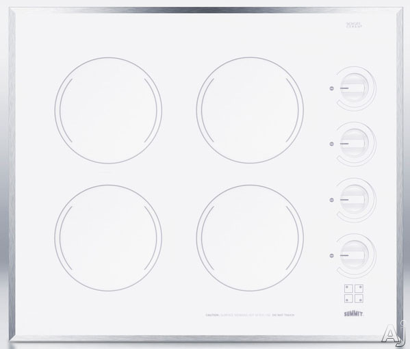 Summit CR424WH 24 Inch Smoothtop Electric Cooktop with 4 Radiant E.G.O. Elements, Schott Ceran Surface, Stainless Steel Trim, Indicator Lights and Push-to-Turn Knobs: White