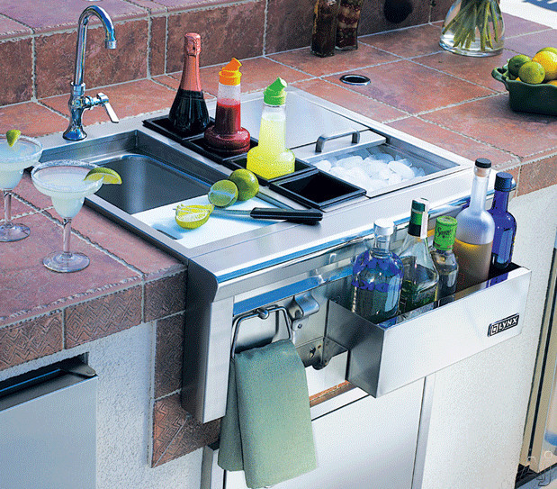 Lynx CocktailPro Series CS301 30 Inch Built-in Cocktail Station with Stainless Steel Sink, Faucet, Ice Storage, Bottle Boots, Cutting Board and Towel Bar