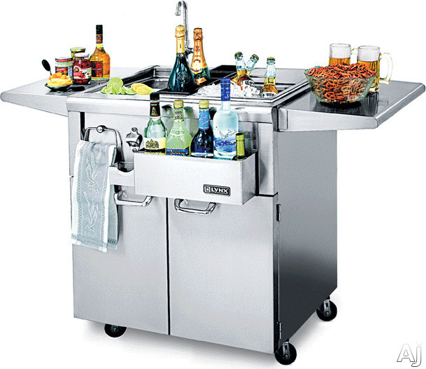 Lynx CocktailPro Series CS30F1 30 Inch Freestanding Cocktail Station with Stainless Steel Cart, Stainless Steel Sink, Faucet, Ice Storage, Bottle Boots, Cutting Board and Towel Bar