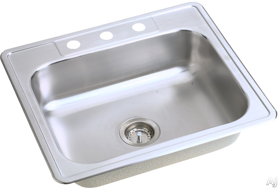 "Elkay Dayton Collection D125215 25"" Drop-In Stainless Steel Sink with 6 1 / 2"" Bowl Depth, 21 1 / 4"", U.S. & Canada D125215"
