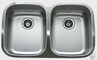 Ukinox D376505010 33 Inch Undermount Double Bowl Stainless Steel Sink with 18 Gauge 18 10 Nickel Content Sound Absorbing Pads and European Polish Finish 10 Inch Bowl Depths