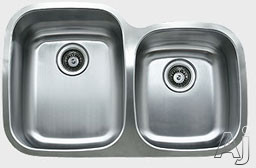 Ukinox D376604010L 32 Inch Undermount Double Bowl Stainless Steel Sink with 18-Gauge, 10 Inch Large Bowl Depth, Sound Absorbing Pads and European Polish Finish: Large Bowl On Left