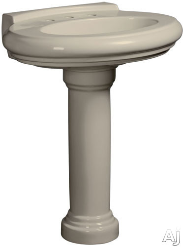 Picture of Danze Orrington Collection DC016028BC 30 Inch Single Bowl Vitreous China Pedestal Lavatory Sink with Overflow Widespread Faucet Mounting 8 Inch Centers and Backsplash Requires Pedestal Column or Vanity Sold Separately Bisque
